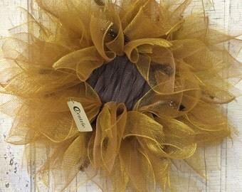 Harvest Sunflower Mesh Wreath
