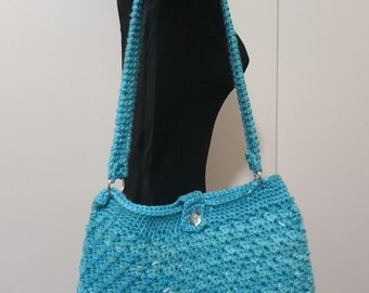 Homemade Turquoise Crocheted Purse