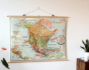 Original Vintage School Map North America 1960 french / map geographic school wall Vintage original America's North policy 1960