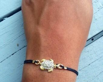 Pave Gold Turtle Bracelet