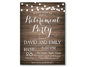 Rustic Retirement Party Invitation. Retirement Invitation. Wood. String Lights. Fairy Lights. Holiday Invitation. Printable Digital.