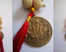 Car Home Office Health Good Luck Happiness Wealth Love Feng Shui Hanging Sau Dragon Phoenix Coin+ 3 Gourds + Suction Cup Peach Wood Talisman