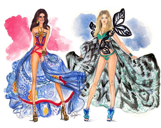 Featured listing image: Victoria's Secret Runway Fashion Show watercolor print featuring best friend supermodels Kendall Jenner & Gigi Hadid