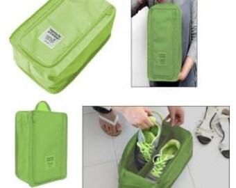 "Olive Green Travel Shoe Bag - 8"" X 12.5"" X 5""  ---- Organizer - Storage  Bag - Travel Bag"