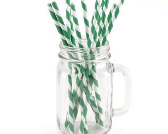Striped Straws | Green And White Paper Straws | 24 Striped Green And White Paper Party Straws Per Package