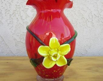 Handblown Red Glass Retro Vintage Vase