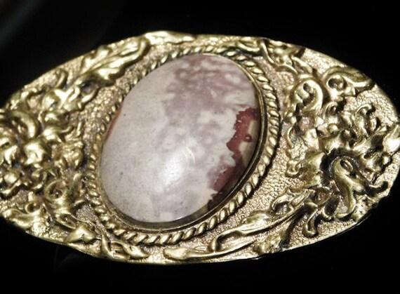 Vintage ODEN Ladies Belt Buckle Solid Brass Jasper Gemstone Cowgirl Belt Buckle Southwestern Western Fashion Early Oden Belt Buckle Unisex