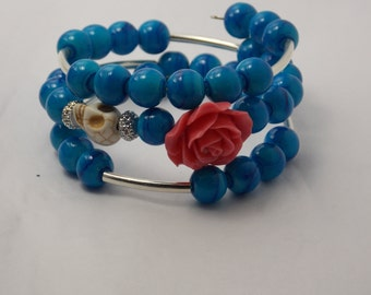Blue glass bead wrap bracelet with red rose accent