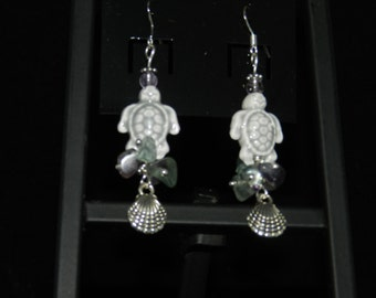 Ceramic Turtle and Fluorite Earrings
