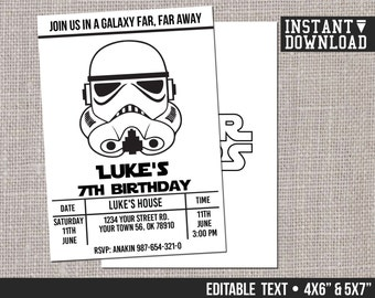 Star Wars Invitation Stormtrooper Customizable Printable Birthday Party Invite - EDITABLE TEXT - Instant Download