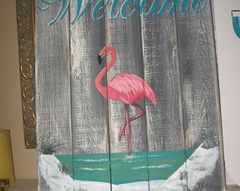 Flamingo Welcome Sign
