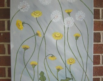 Dandelions Yellow and Gray Painting Abstract Flowers Large Painting