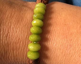 Rudraksha & Peridot bracelet