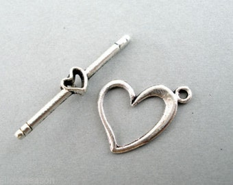 10 Sets Love Heart Toggle Clasps   233-Zn