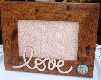 Rustic Photo Frame with Wooden Love Embellishment