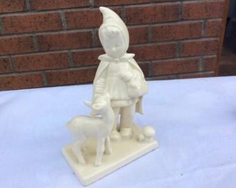 Mary Had a Little Lamb Figure Ornament Creamy White Nursery Rhyme Figure