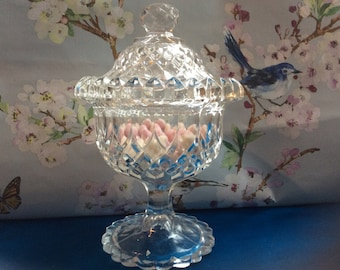 Vintage Clear Cut Pressed Glass Bonbon Sweetie Dish with Lid