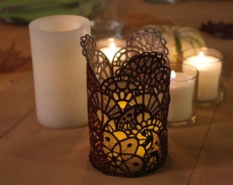 Lace Candle Holder, Elegant and Festive, Handmade