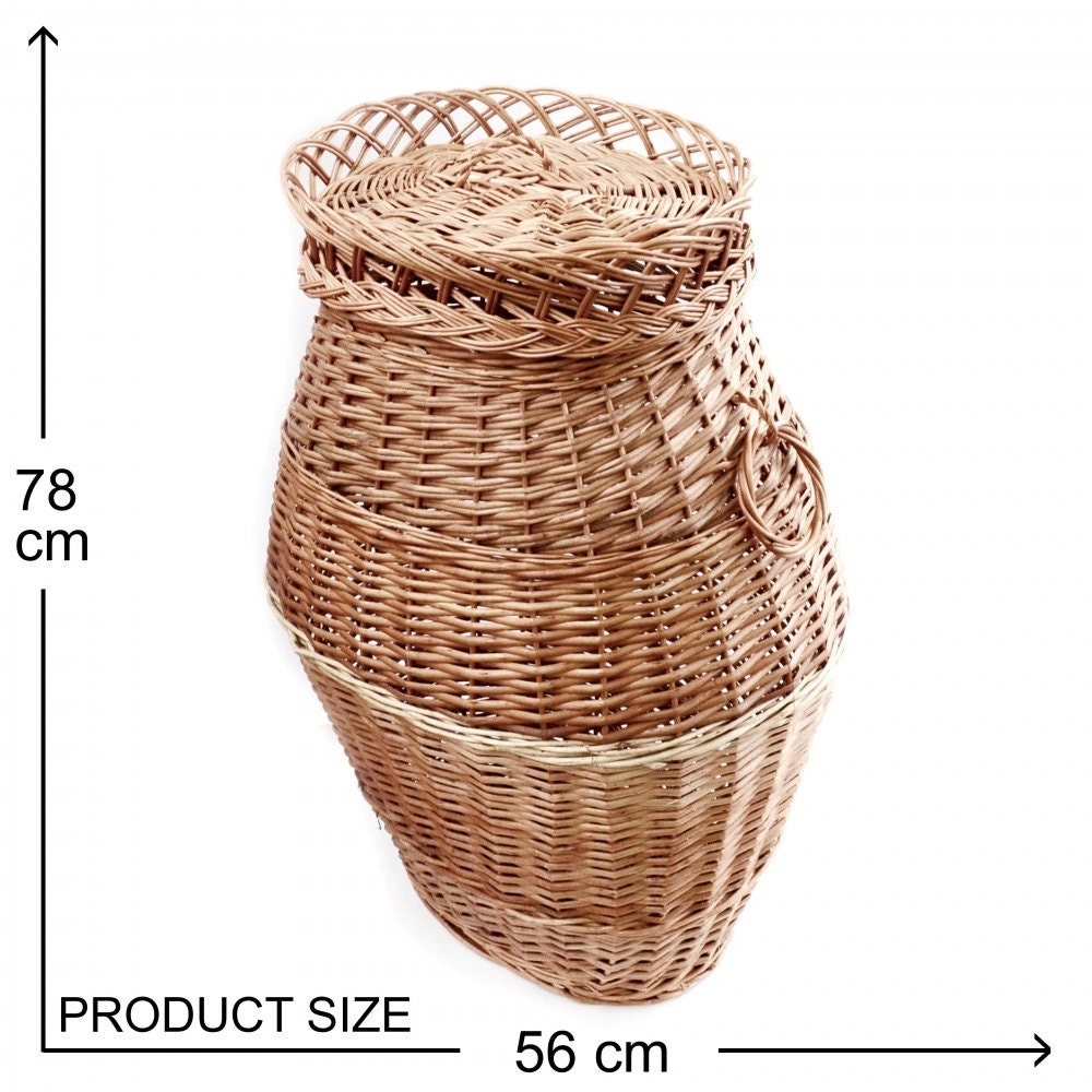 Round laundry basket large wicker basket with lid bin handles - Rattan laundry basket with lid ...
