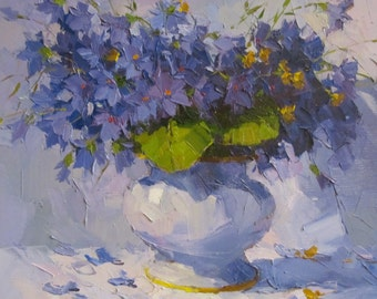 Violets. Oil painting. Canvas. Original