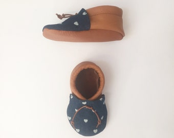 Boho Baby Girl Shoes in Denim and Leather -  Baby Girl Moccs with Hearts - Soft Sole Baby Shoes - Baby Announcement
