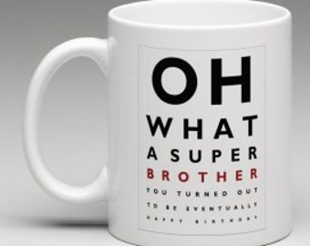 Funny mug, Eye Test style Brother's Birthday gift mug