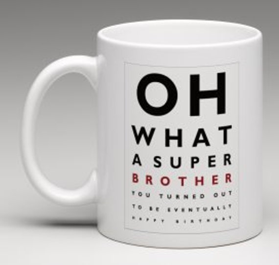 Gift For Brother Funny Mug Eye Test Brother's By BeesMugShop