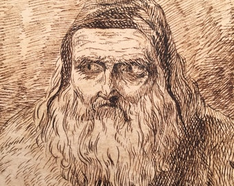 Old Master Drawing of a Medieval Man - 1800s - Portrait - Antique