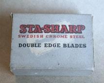 Vintage STA-SHARP BOX Cold Swedish Chrome Steel Double Edge Razor Blades with Blades Inside