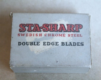 Vintage STA-SHARP BOX Cold Swedish Chrome Steel Double Edge Razor Blades with Blades Inside