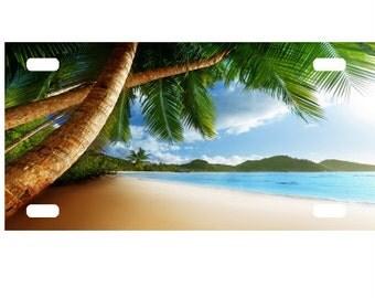Palm Tree Beach License Plate