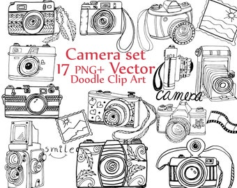 "Doodle Camera clipart: ""CAMERA CLIP ART"" camera vector cute cameras hand drawn camera photography clipart retro camera clipart boho cameras"