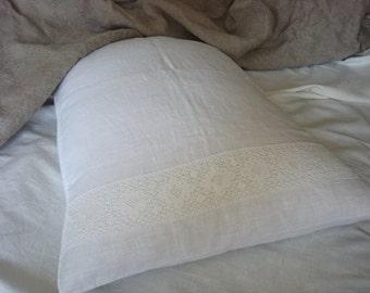 White pillow cases linen pillowcase lace pillow cases custom pillowcase rustic bedding ORIGINAL DESIGN  by LUXOTEKS