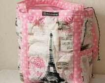 Paris Inspired Insulated Tote Bag, Market Bag, Diaper Bag, Beach Bag, Travel Tote, Weekend Bag, Quilted Bag, Car Tote,  Hand Crafted in USA
