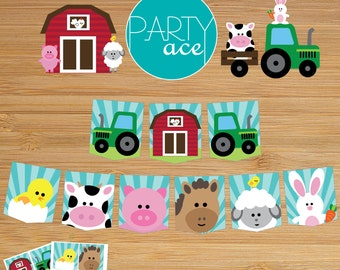 Farm Animals Barn Banner