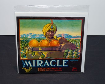 Original 1920s USA Fruit Crate Label Miracle - Art deco