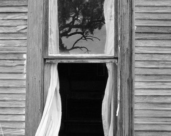 Vintage window photography, black and white window photo, fine art photography, window reflection, whimsy photo, black and white photo
