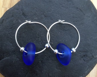 Scottish Sea Glass and Sterling Silver Hoop Earrings.