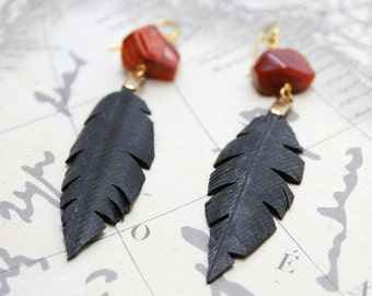 Faux Leather, Leather Alternative, Recycled Bike Inner tube Feather Earrings with Carnelian