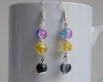 Unique, colourful beaded earrings