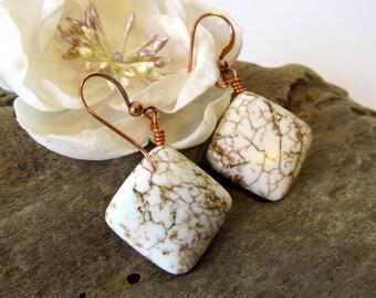 Magnesite Earrings, Earth Tone Semi-Precious Stone Drop Earrings with Copper Earwires, White and Tan Stone Dangle Earrings