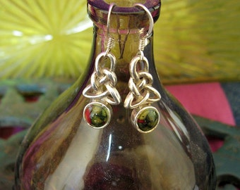 Sterling silver Celtic Agate drop earrings