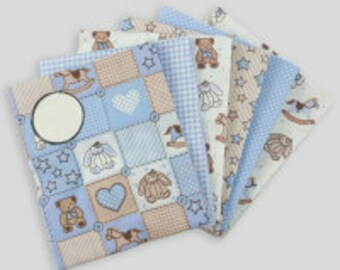 Teddy Pale Blue Fat Quarter Bundle  Cotton Fabric