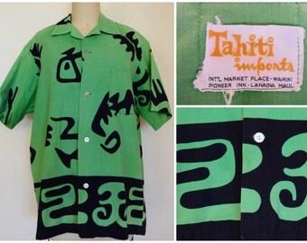 Vintage 1960s Green Hawaiian Shirt/ Tahiti Imports Abstract Print Button-down Shirt/ Vintage Aloha Shirt/ Summer Surf Beach BBQ/ Size M