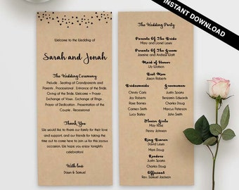 romantic program, double sided, printed wedding, affordable program, wedding templates, affordable wedding, simple program, confetti, dot,28
