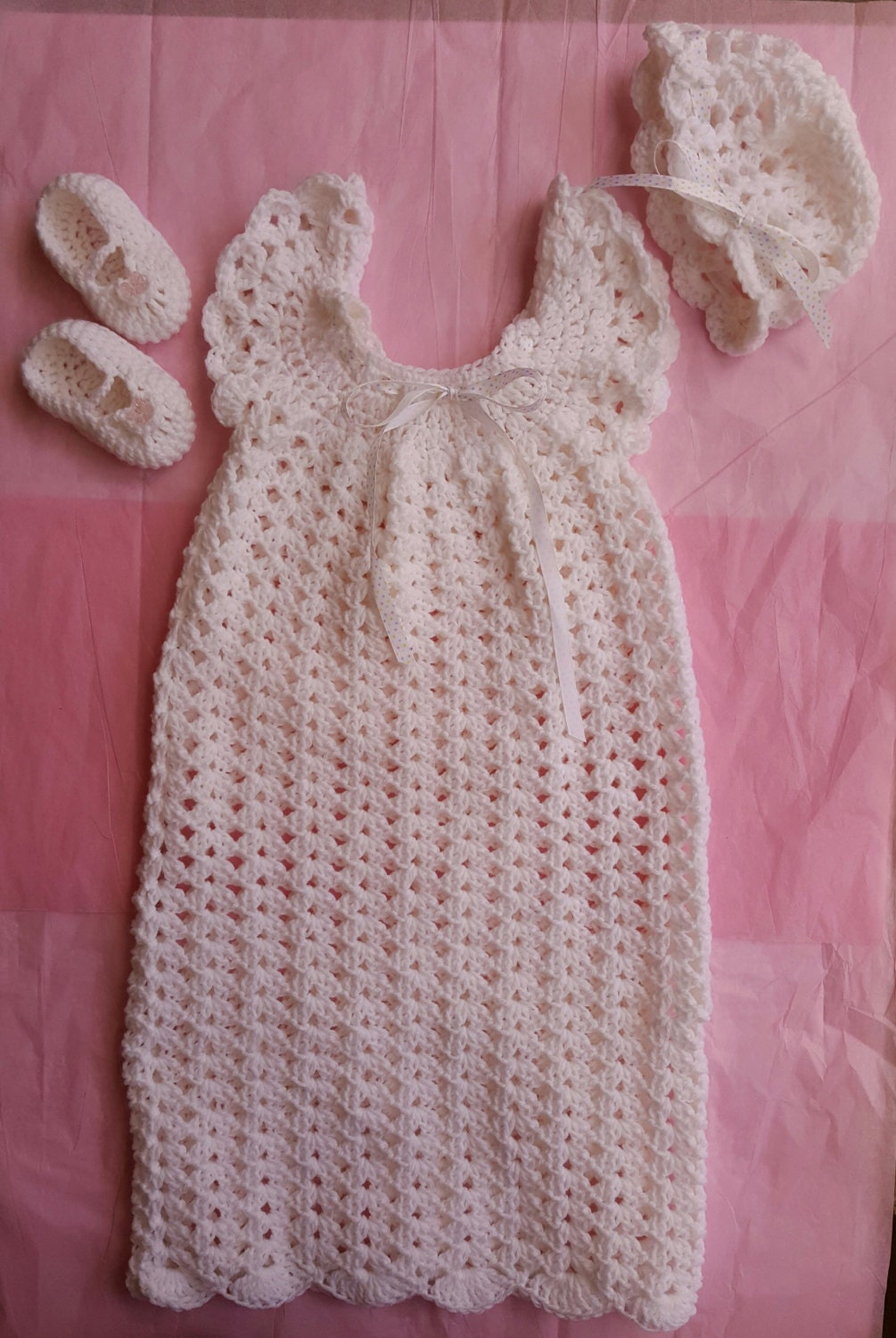 Christening Gown Crochet Baby Dress Heirloom Dress