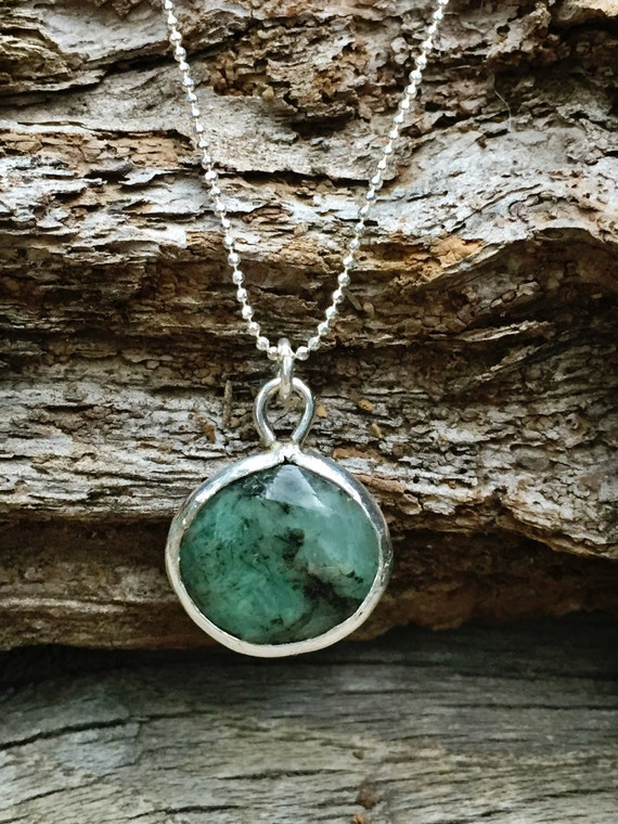 Raw Emerald Necklace Raw Emerald Pendant Natural Emerald