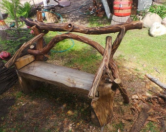 Bench made of oak and apple trees.