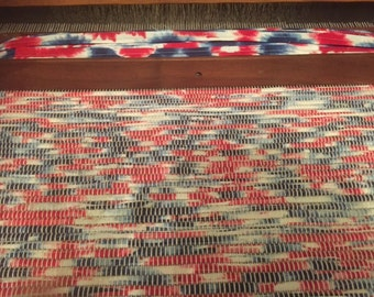 Handwoven Rug, One of a Kind, made on 100 yr old Loom, Patriotic, Gorgeous Multicolor Cotton Rag Rug, Reversible, Durable