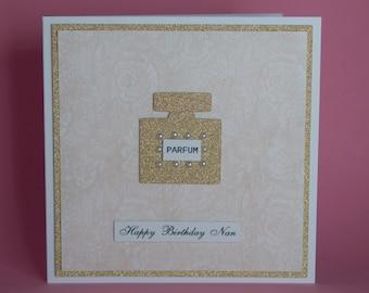 Handmade pretty gold glittery perfume bottle birthday card